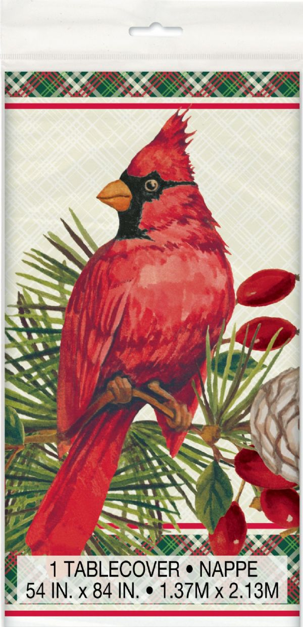 Red Cardinal Christmas Plastic Table Cover